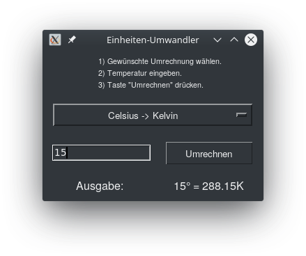 Einheiten-Umrechner in Python3 mit Tkinter